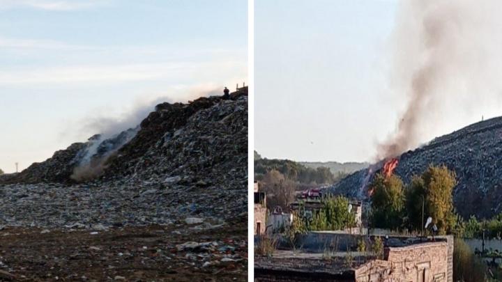 В Новосибирске снова загорелся мусорный полигон на левом берегу