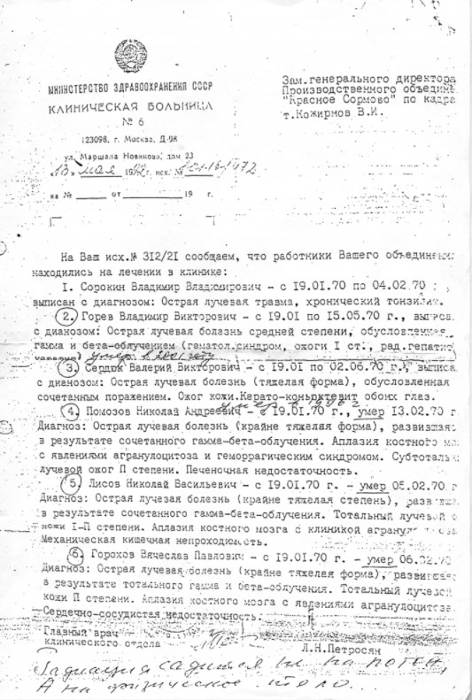 Такую справку удалось получить командованию ВМФ из Тушинской больницы в Москве в 1992 году. Она является одним из немногих сохранившихся свидетельств произошедшей аварии
