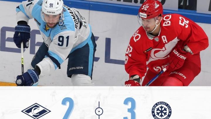 Вырвали победу в овертайме: хоккейная «Сибирь» обыграла московский «Спартак» в выездном матче КХЛ