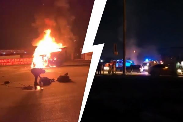 Машина вспыхнула как спичка: два человека не успели выбежать и сгорели заживо