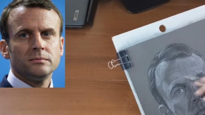 Омич написал портрет Макрона и занял первое место в международном конкурсе