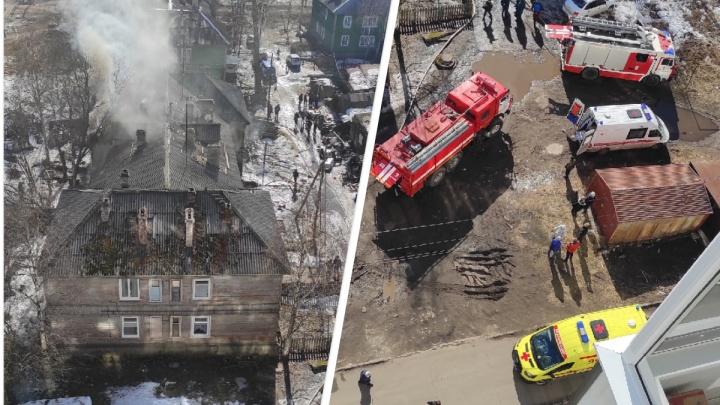 «Люди махали красными тканями, звали на помощь»: в Архангельске горела аварийная деревяшка