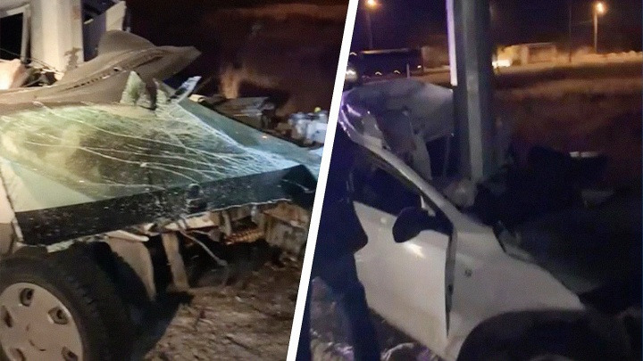 «Намотало»: на трассе под Самарой Skoda врезалась в столб