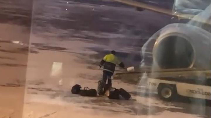 Челябинская модель сняла, как в аэропорту Кольцово швыряют багаж в снег