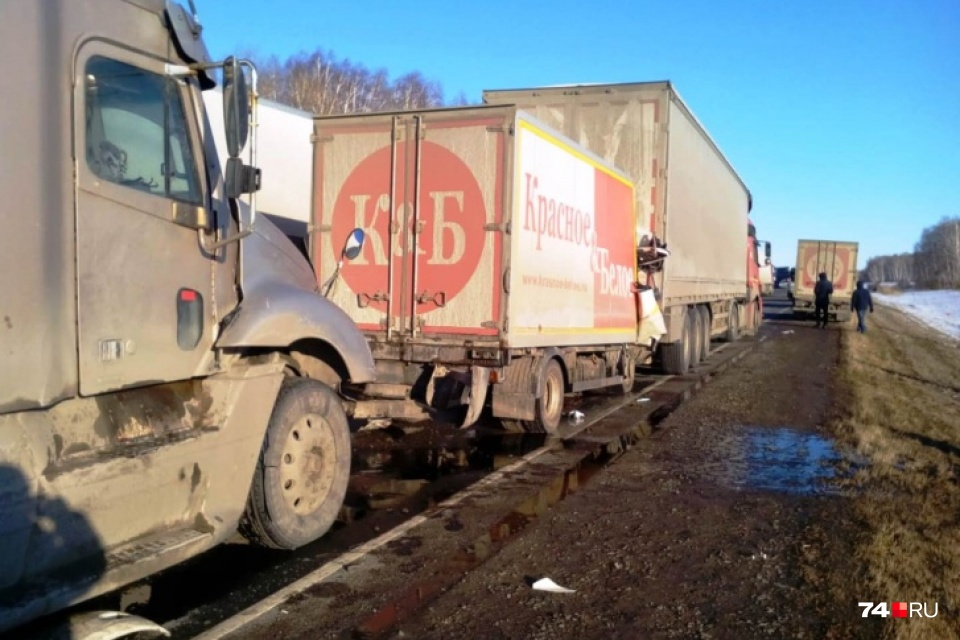 Виновником ДТП признан водитель капотного грузовика Freightliner (на снимке видна его кабина)