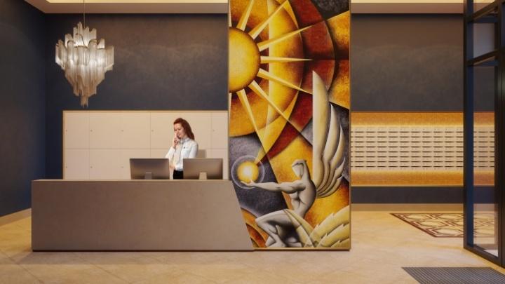 Подъезд с золотыми люстрами и фресками: уральский застройщик оживил иллюстрации своих проектов