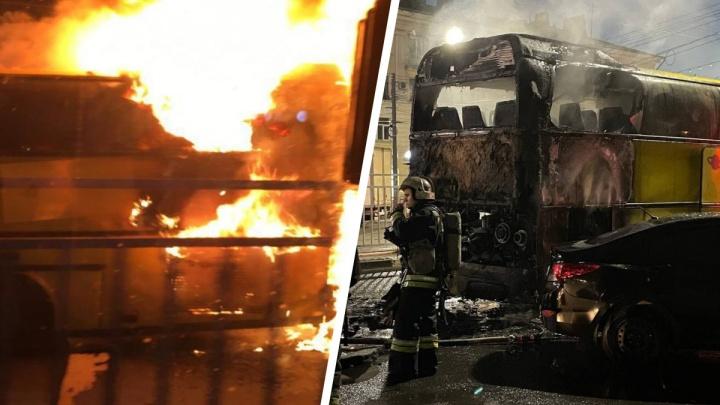 В Ярославле загорелся автобус с пассажирами: из-за ЧП полностью перекрыли проспект