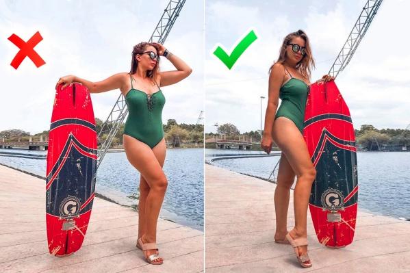 Разница между фотографиями меньше минуты, но на правой Алина выглядит значительно худее