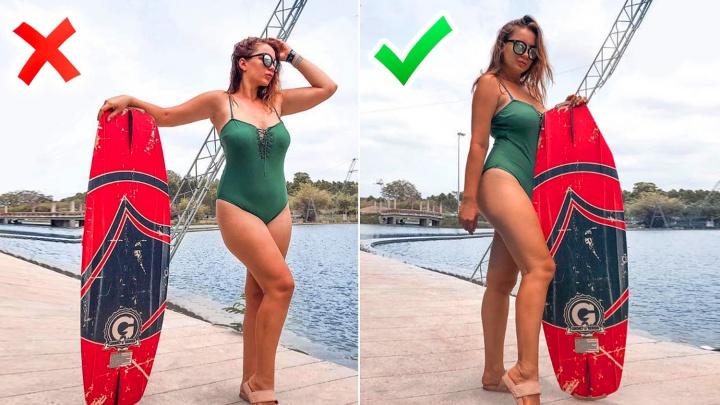«Будто худышка»: красотка с формами показала, как выглядеть на 10 кг меньше на летних фото (7 удачных поз)