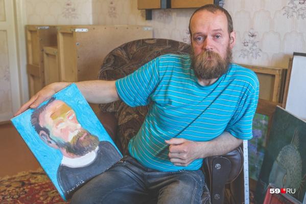 Демьян Гладков и его портрет. Таким его увидел другой художник Кандинский-Дае из Соликамска. Похожи