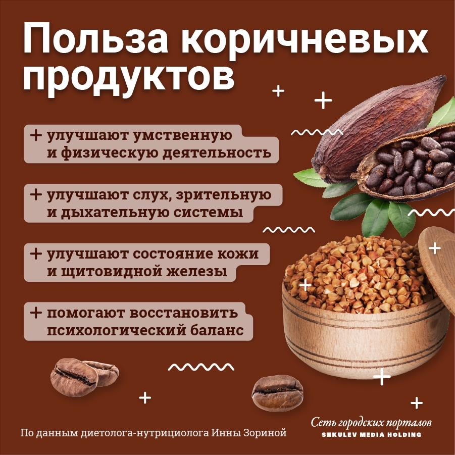 Полезные свойства коричневых продуктов