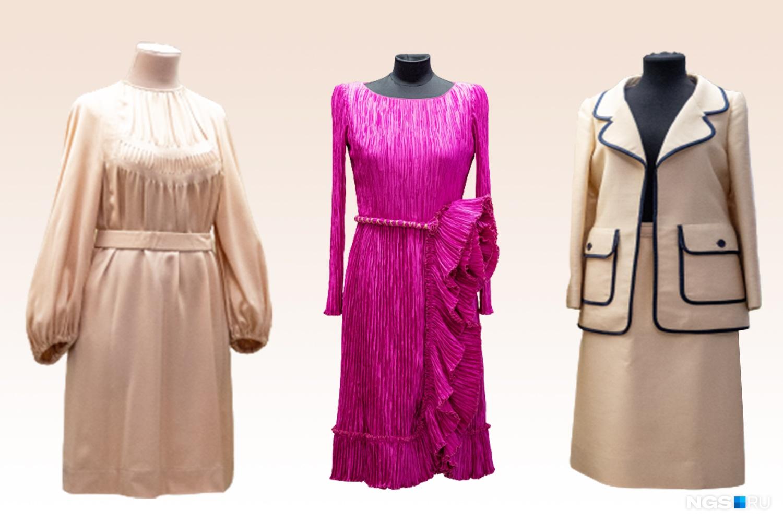В центре — платье Мэри Макфадден, по бокам — костюм и платье Джеймса Галаноса
