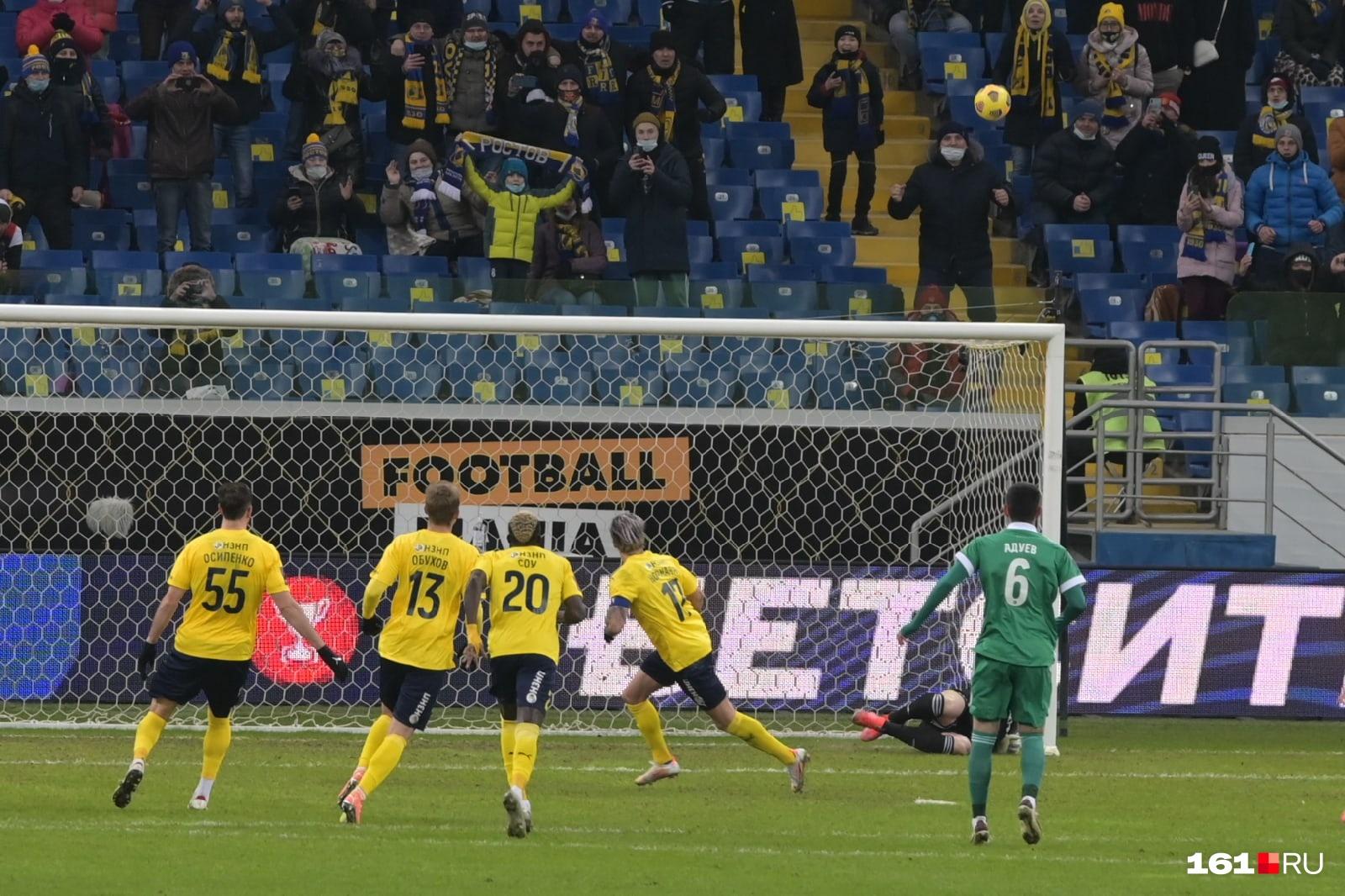 В конце матча «Ростов» мог сравнять счет, но Норманн не забил пенальти