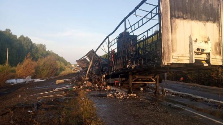 В Зауралье на трассе столкнулись фуры. Одна из них полностью сгорела, погибли 2 человека