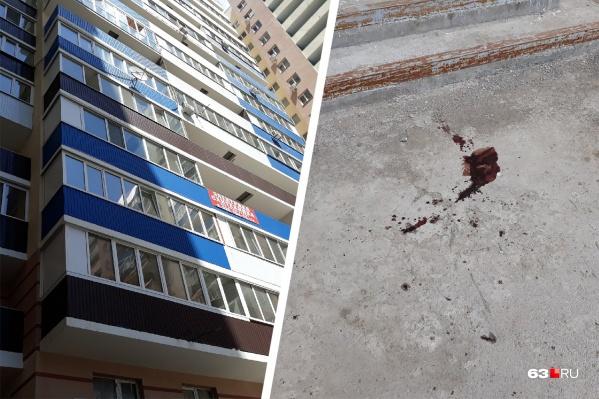 На асфальте остались следы крови