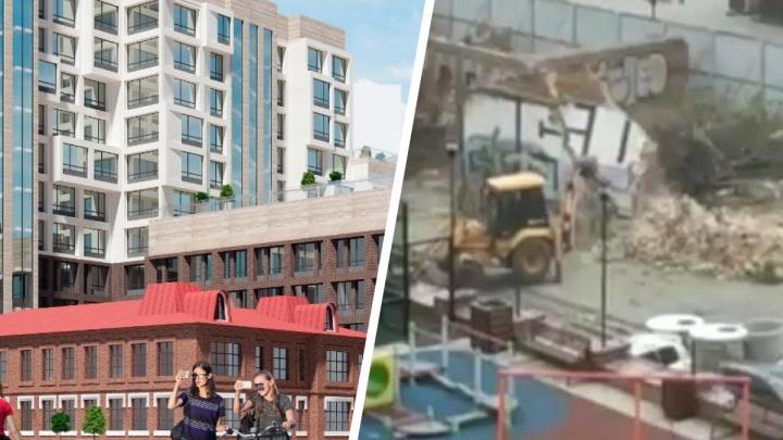 Общественники заявили о сносе памятника в центре Екатеринбурга. В УГМК рассказали, зачем устроили демонтаж