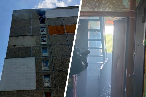 Пожар произошел на восьмом этаже многоквартирного дома на Резинотехнике