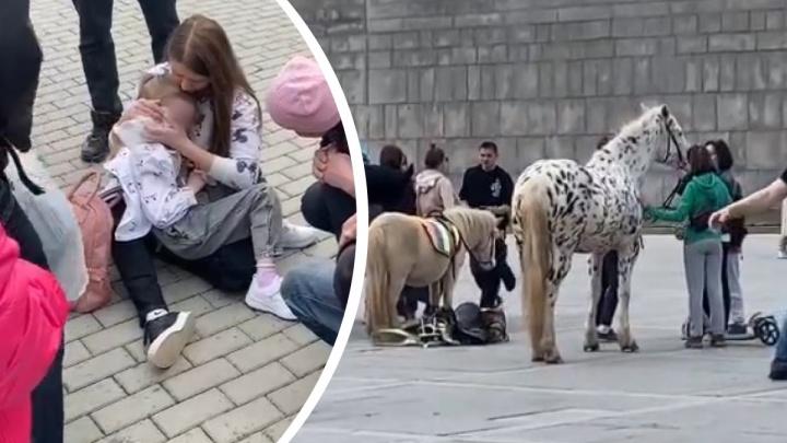«Чуть ли не наступила на голову»: в центре Екатеринбурга лошадь сбросила девочку