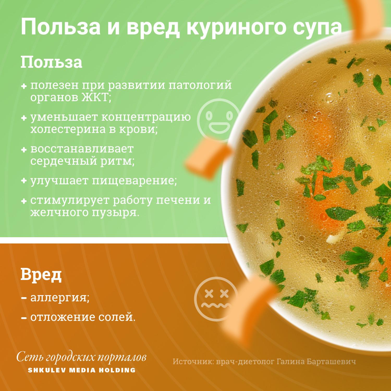 Полезные и вредные свойства куриного супа