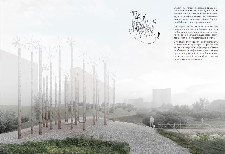 На участке, возвышающемся над водой даже в половодье, предложили установить деревянные столбы как напоминание о вырубленном лесе и как место, где можно проводить фестиваль ветряков и вертушек