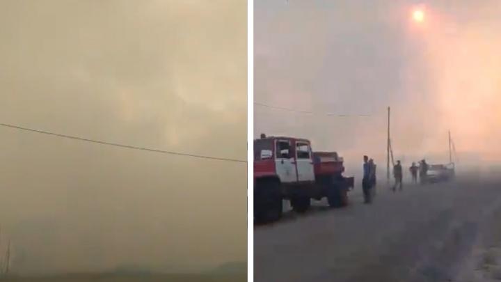 «Пепел падает с неба»: полыхающий пожар в Пышминском районе сняли на видео