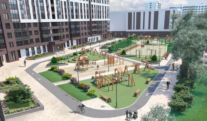 Внутренний двор рассчитан на всю семью: лаундж-зоны, трек для велосипедистов и бегунов, воркаут-зона и три площадки для детей разных возрастов