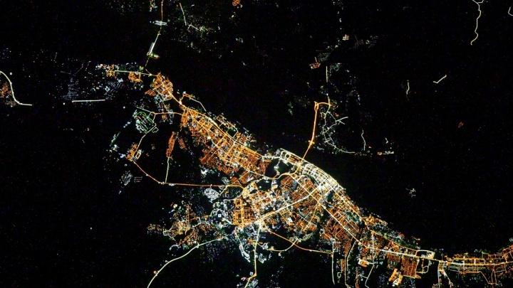 «Это динозавр?»: смотрим на ночной Волгоград с борта МКС