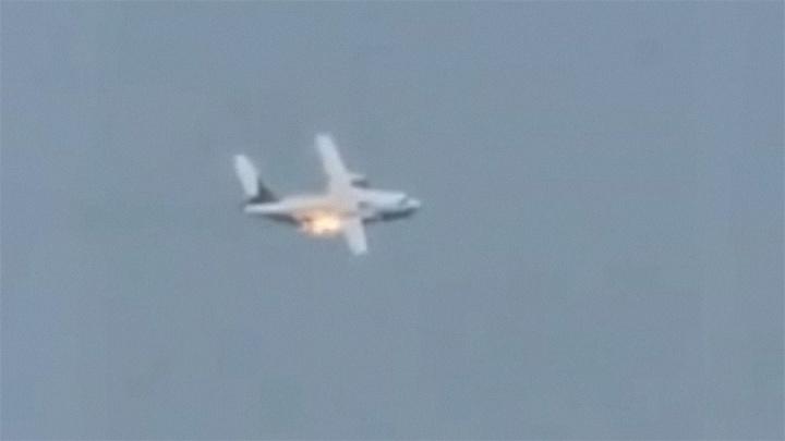 Крушение военного самолета в Подмосковье попало на видео