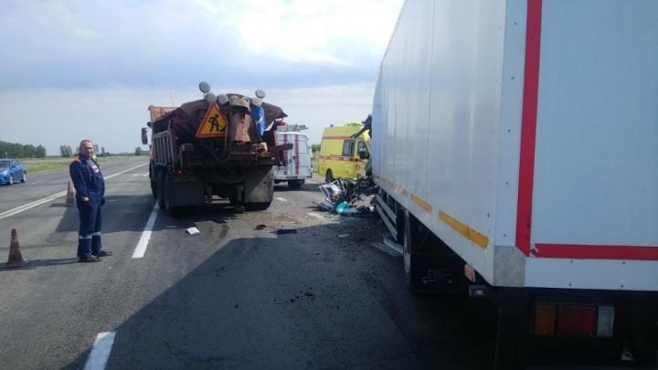 Под Омском работавший за напарника водитель хлебовоза погиб, врезавшись в стоявший на дороге КАМАЗ