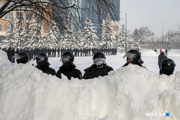 Такую картину наблюдали протестующие в Красноярске