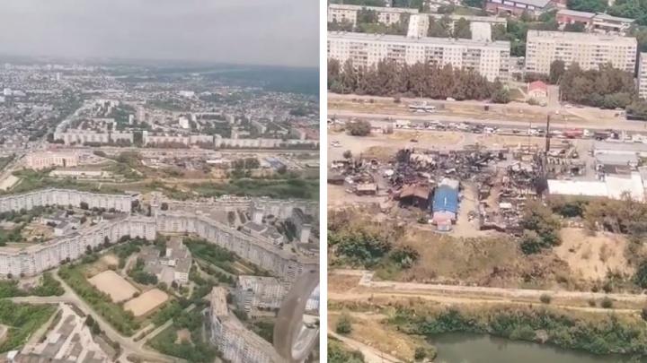 Руины с высоты: новосибирцы сняли с самолета разрушенную взрывами заправку на ГБШ