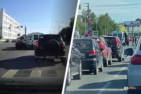 Столкновение произошло в тот момент, когда катафалк начал перестраиваться в левый ряд