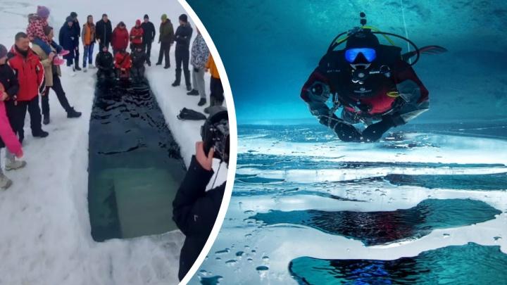 Не испугались подтаявшего льда: уральские дайверы закрыли зимний сезон, нырнув в заброшенный карьер