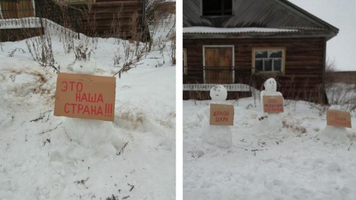 Полиция прекратила проверку из-за «митинга» снеговиков в деревне Архангельской области