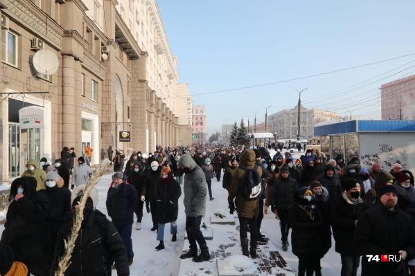 Площадь Революции участники несогласованного шествия уже прошли
