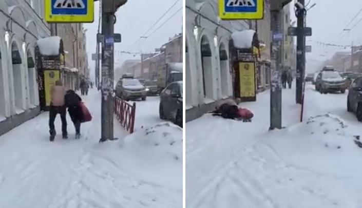 В центре Ярославля полуголый мужчина напал на прохожую и начал душить