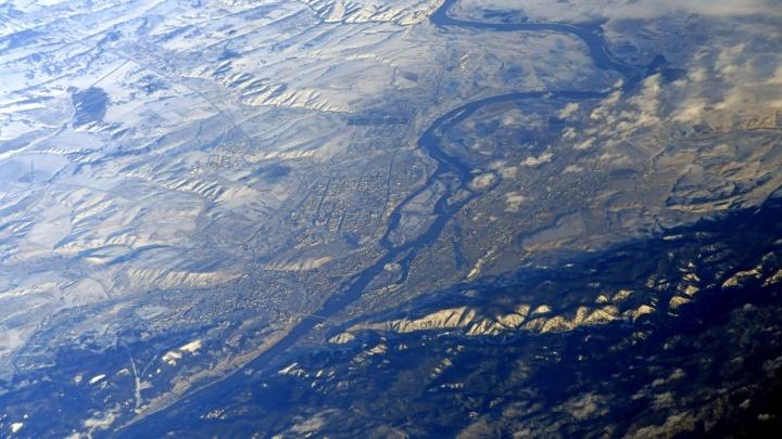 Космонавт сфотографировал Красноярск с высоты 400километров