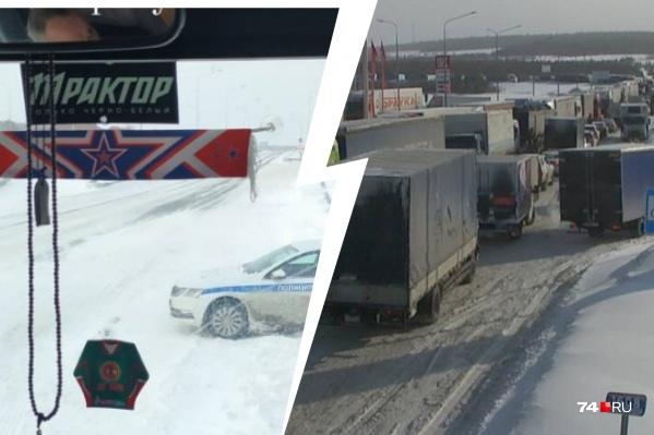 Дороги на подъездах к Башкирии переметены — не проехать ни фурам, ни автобусу с болельщиками «Трактора»