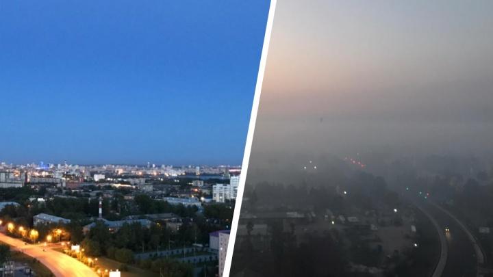Город не узнать (или не разглядеть). Сравниваем кадры Екатеринбурга в обычный день и во время смога