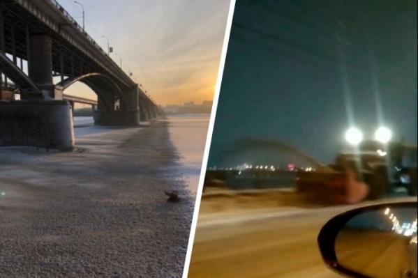 На видео и фото как минимум три раза попадали ситуации, когда дорожники решили не вывозить снег, а просто сбросить его в Обь