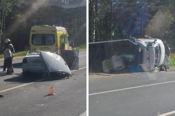 Очевидцы сняли последствия аварии под Туношной в Ярославском районе