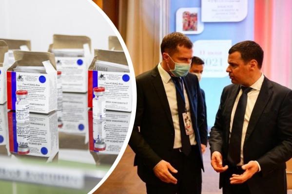 Ни мэр Владимир Волков (слева), ни губернатор Дмитрий Миронов не сделали прививки от коронавируса
