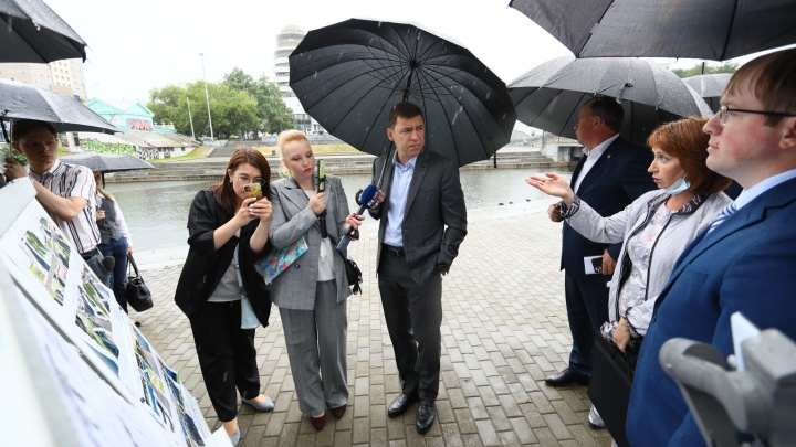 Гуляем с губернатором в прямом эфире по набережной Исети у парка Маяковского