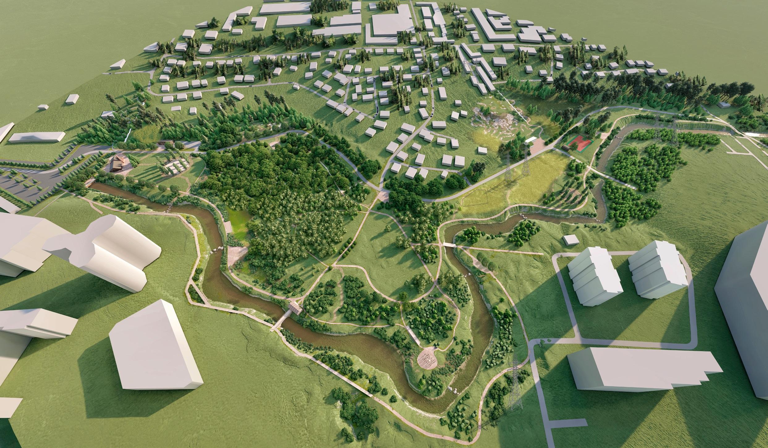 Общая площадь парка составит порядка 13 гектаров, в перспективе в него могут включить и незадействованный сегодня участок с автостоянкой