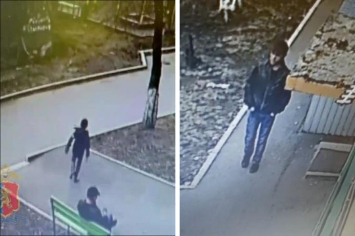 Фрагмент видео, где мальчик бежит прочь от мужчины