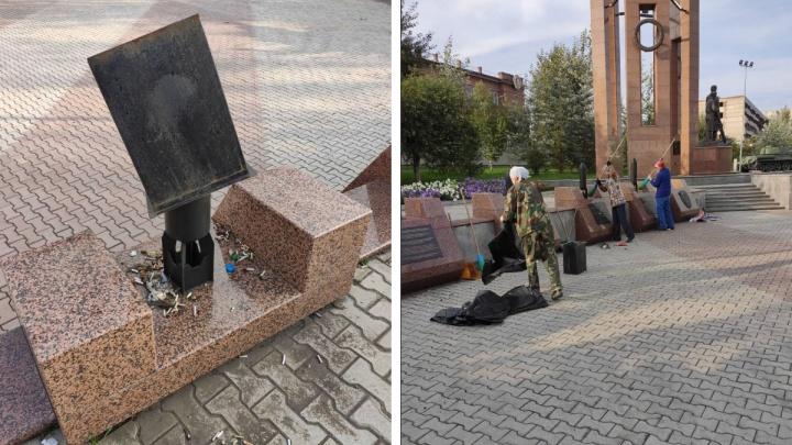 Вандалы осквернили комплекс в честь 70-летия Победы в Красноярске