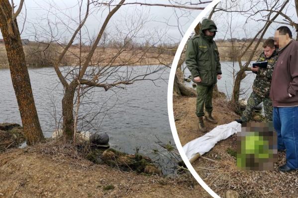 Берег пруда, где были найдены тела девочек