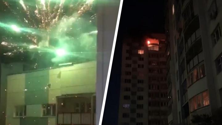 Ночью на Горском загорелся балкон из-за фейерверка — пожар попал на видео