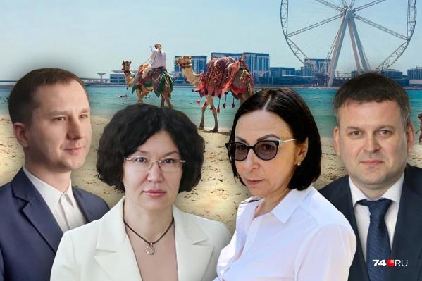Александр Егоров, Наталья Лугачёва, Наталья Котова и Владимир Шамне (слева направо) должны были провести выходные в гостинице на самоизоляции, но удержаться от прогулок по Дубаю смогли не все