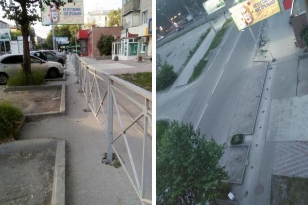 Забор на Новогодней улице в районе пересечения с Ватутина простоял два года
